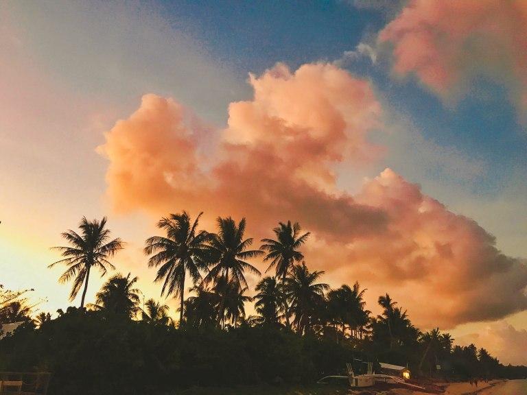 Sunset across the beach